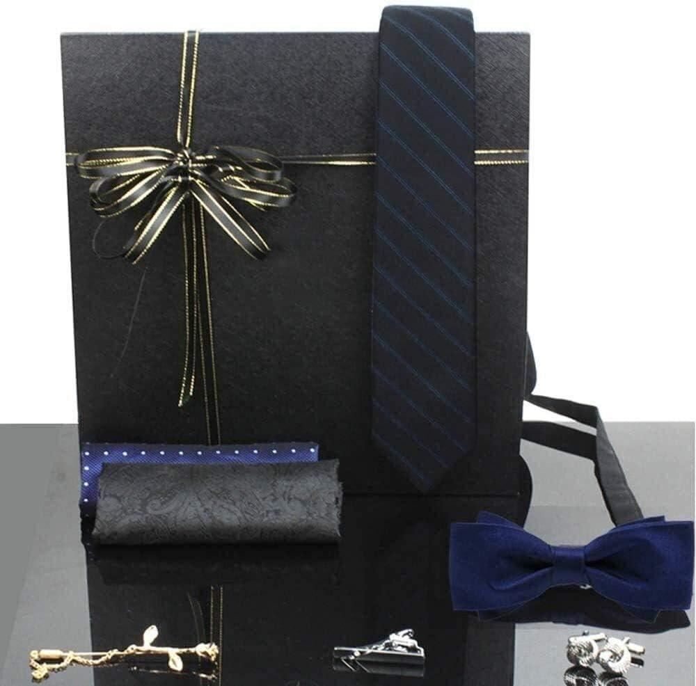 TianriJ Art of The Gentleman Striped Oxford Necktie Tie Set Lapel Pin Pocket Square Men Handkerchief Cufflinks&Clips Gift Box Set for Formal Wedding Business Party Set Gift Box Pack
