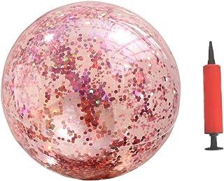 Garneck Glitter Beach Ball Transparent Confetti Beach Ball Inflatable Swimming Pool Game Ball Rose Gold Beach ball for Sum...