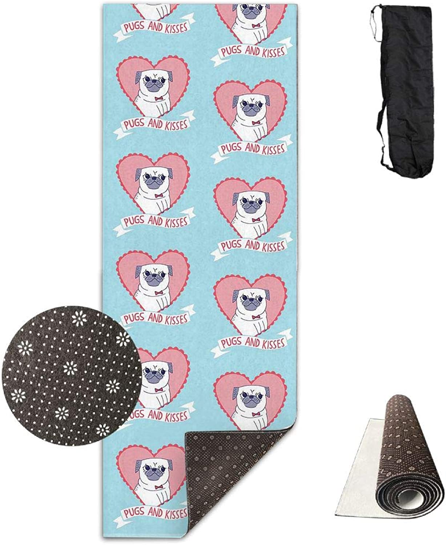 Yoga Mat Non Slip 24  X 71  Exercise Mats Pugs & Kisses Premium Fitness Pilates Carrying Strap