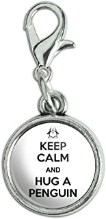 Antiqued Bracelet Pendant Zipper Pull Charm with Lobster Clasp Keep Calm and H-O