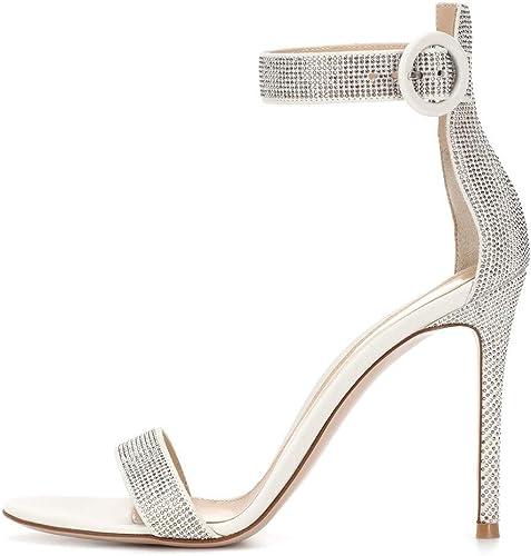 Escarpins Mot élégant en Cuir Artificiel De Femmes Européennes Et Américaines avec Sandales à Talons Hauts Diamant Mariage Chaud Chaussures