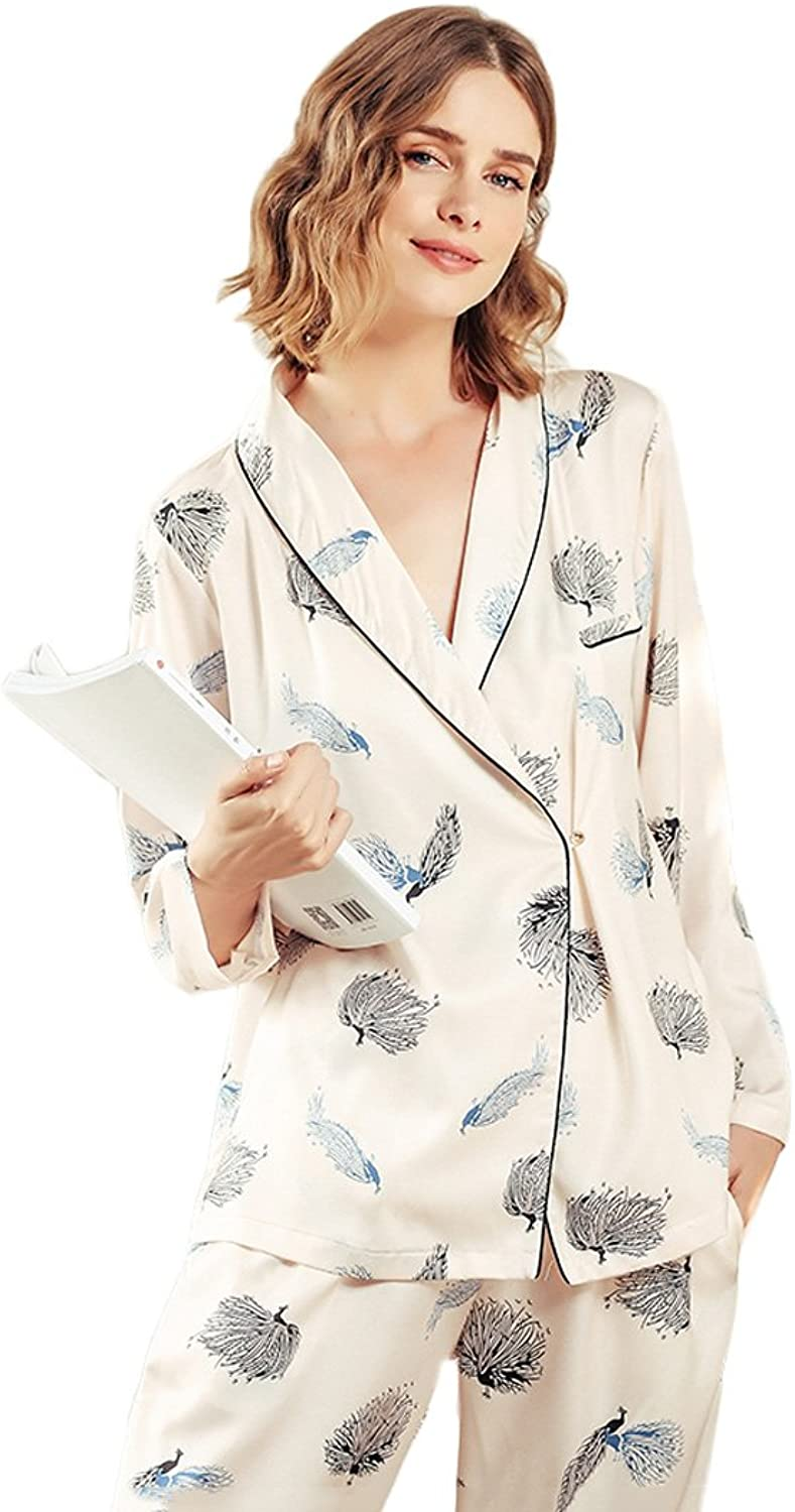 Elegant Lady Cardigan Long Sleeves Pajamas Sexy V Neck Kimono Imitation Silk Home Clothing Home Suits (color   Beige, Size   XL)