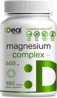 Sponsored Ad - Magnesium Complex 600mg, 180 Capsules, Chelated Magnesium Supplement, Supports Sleep, Muscle Cramps, Stress...