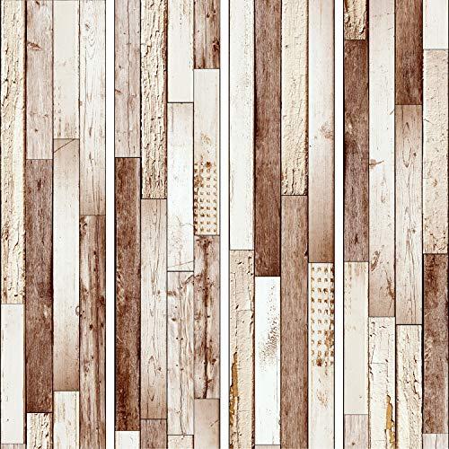 murando - PURO TAPETE - Realistische Tapete ohne Rapport und Versatz 10m Vlies Tapetenrolle Wandtapete modern design Fototapete - Holzoptik Bretter f-C-0372-j-c