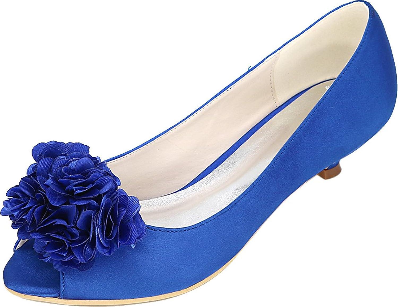 Womens Flower Wedding Dress Work Peep Toe Comfort Low Heel Satin Sandals 0700