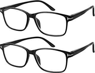 Computer Glasses 2 Pairs Anti Glare Anti Reflection Classic Reading Glasses Quality Comfort Glasses for Men and Women