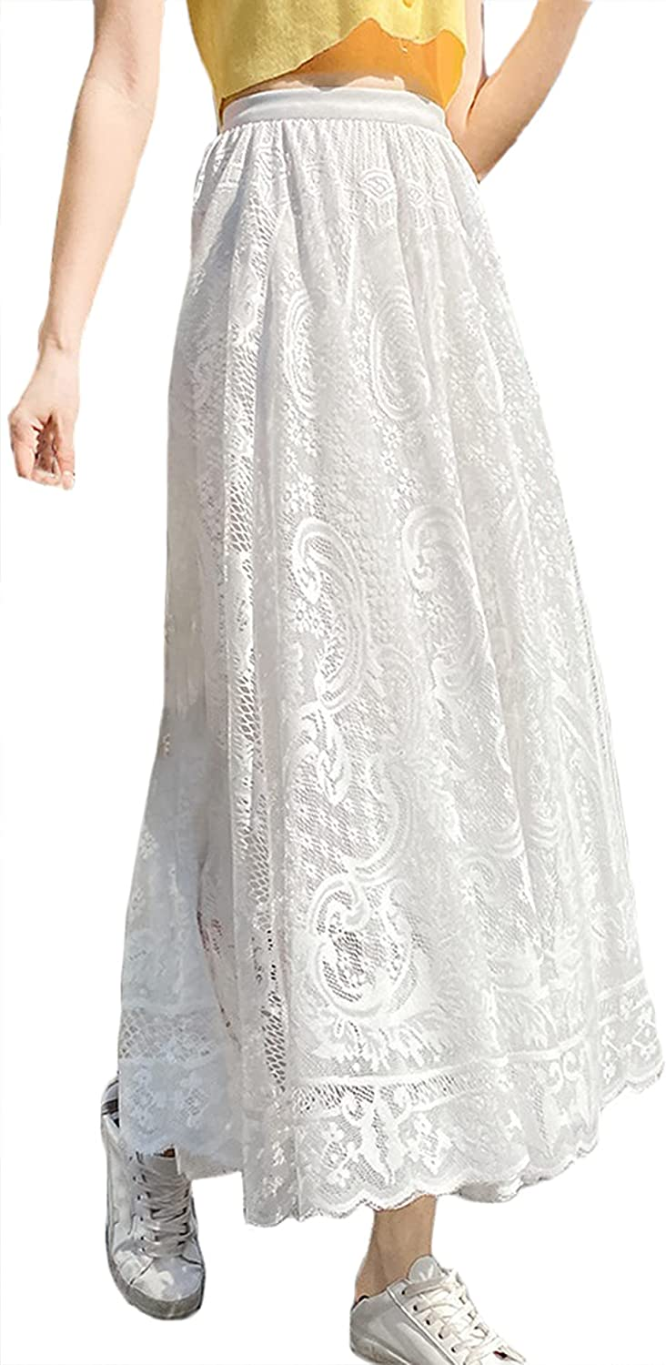CHARTOU Women's Elegant Stretch Waist Lace Hollow Out Pleated A-Line Swing Long Skirt