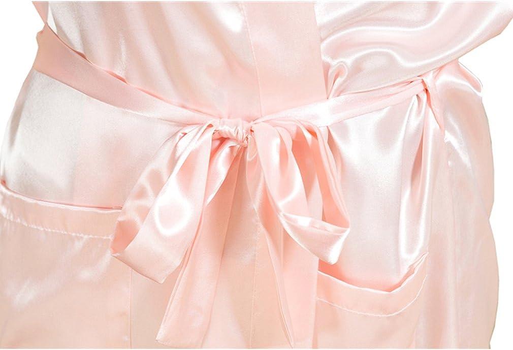 BOYANN Damen Morgenmantel Satin Kimono Braut Brautjungfer Hochzeits Robe Bademantel Schwarz