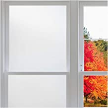 Rabbitgoo Window Privacy Film No Glue, White Frosted Glass Films for Bathroom Home Office, Removable Window Vinyl Frosting Film for Glass Covering, Anti UV (Matte White, 35.4 x 78.7 inches)