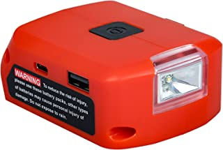 Battery Adapter for Milwaukee 18v Battery, Dual USB & DC Port & LED Work Light Power Source Charger, Power Supply for Milw...