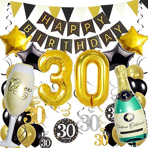 Zerodeco 30ème Bon Anniversaire Décorations, Noir Or Bannière de Happy Birthday Nombre 30 Étoile Bouteilles & Verre à Champagne Ballon en Aluminium Tourbillons Suspendus Fournitures de Fête 30 Ans