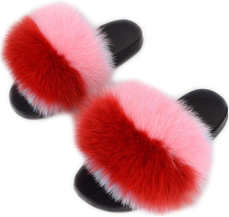 QMFUR Women's Flip Flop Fox Fur Soft Slide Flat Slipper Multicolor (11, Red-Pink)