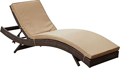 Plutus Brands MF1685 Outdoor Patio Chaise, Brown Mocha