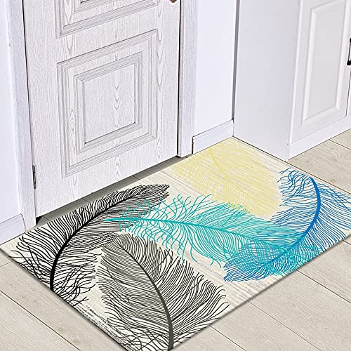 HLXX Alfombrilla de Puerta de Entrada con patrón de Hojas Tropicales, Alfombrillas de Suelo para Interiores, Alfombra Lavable Antideslizante para decoración de Felpudo de baño A6 50x80cm