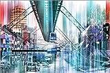 Poster 130 x 90 cm: Wuppertal Collage von Städtecollagen -
