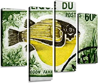 Canvas Wall Art Painting Pictures Puffer Fish Tetrodon Fahaka on Mali Stamp Modern Artwork Framed Posters for Living Room Ready to Hang Home Decor 4PANEL