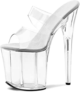 Womens 8 Inch Heels Clear Double Strap High Platform Sandals Dancer Slide Shoes