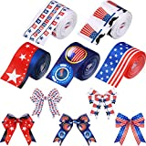 5 Rolls of Patriotic Independence Day Ribbon USA Flag Ribbon Star Pattern Ribbon 4th of July Ribbons for Memorial Day, 4th of July, President's Day Decorations, 1.5 Inch by 5 Yards