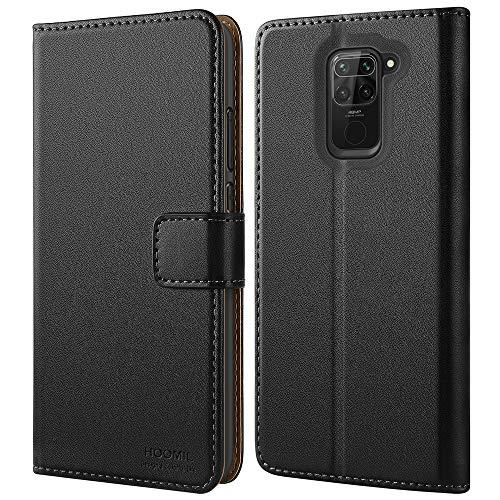 HOOMIL Handyhülle für Xiaomi Redmi Note 9 Hülle, Premium PU Leder Flip Hülle Schutzhülle für Xiaomi Redmi Note 9 Tasche, Schwarz