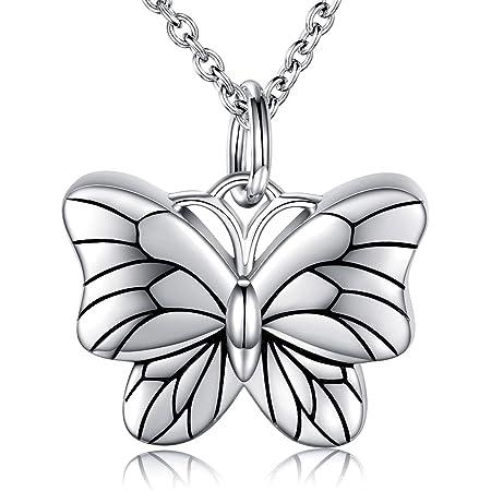 Butterfly Rhinestone Cremation Keepsake Memorial Ash Urn Pendant Necklace