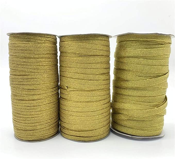 6 yards 12 width light bronze gold color heavy duty elastic band trim satin stretch elastic band for your fashion design decorative