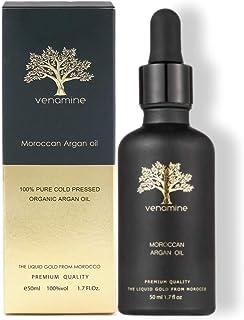 VENAMINE 100% Moroccan Argan Oil USDA Certified Organic (1.7oz / 50mL) Moroccan oil Pure Cold Pressed Extra Virgin Premium...
