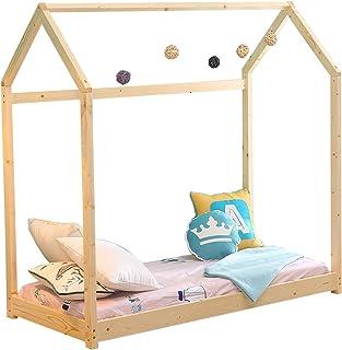 WALCUT Children House Bed Frame Toddler Wood Floor Tent Bedroom Furniture