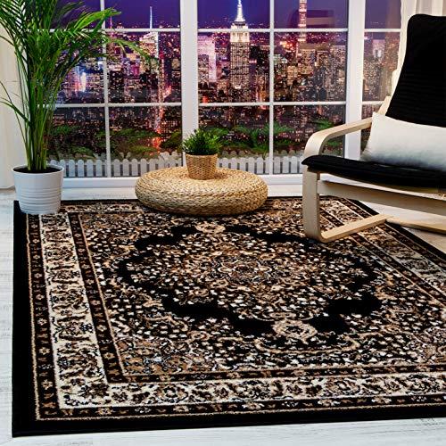 Antep Rugs Siesta Collection Traditional Oriental Polypropylene Indoor Area Rug (Black/Beige 8' X 10')