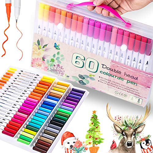 60 Colors Dual Tip Brush Pens Art Markers- Flexible Brush & Fineliner Tips - Watercolor Pen, Calligraphy Pens Markers Perfect for Kids Coloring Books Drawing Sketching Journaling Christmas DIY Crafts