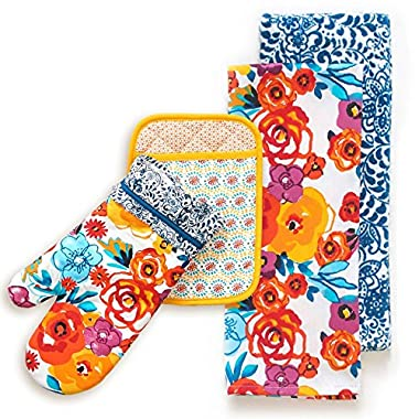 The Pioneer Woman Flea Market Kitchen Towels, Oven Mitt, Pot Holder 4 Piece Set