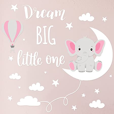 Dream Big Little One Elephant Wall Decals Baby Elephant Wall Stickers Cloud Moon and Star Decal Self Adhesive Wall Decor for Baby Kids Boy Girl Bedroom Nursery Cradle (Pink, White)