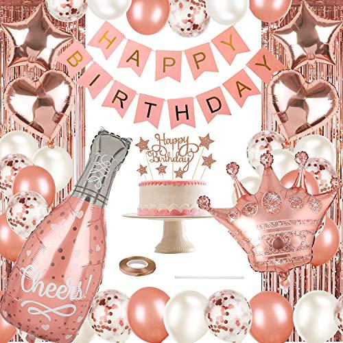 Rose Gold Party Dekorationen alles Gute zum Geburtstag Konfetti Luftballons mit DIY Cake Topper, Banner, Fransen Vorhang, Champagner Folie Luftballons, Star Heart Folie Luftballons, Krone Luftballons