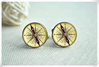 Retro Compass Cufflinks, Advanture Compass Cufflinks,Exquisite Jewelry, Dome Glass Jewelry, Handmade.