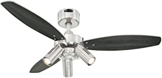 Westinghouse Ceiling Fans Jet Plus Ventilador de Techo E14, 120 W, Acabado en níquel satinado con aspas reversibles en wengué/plata