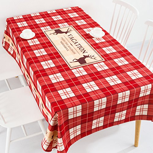 AMYDREAMSTORE [Europe du Nord] Vacances Nappe Simple Nappes Rectangle,Table de thé Nappe de Tissu Lourd Vichy Couverture de la Table Ronde-A 200x140cm(79x55inch)
