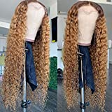 Fureya Curly Hair Lace Front Wigs for Black Women Dark Root Ombre Brown Color 2 Tones Synthetic Long Wigs Heat Resistant Fiber Hair 24 Inch Honey Blond Wigs