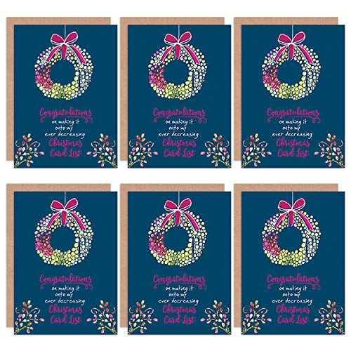 Wee Blue Coo Christmas Cards x6 Funny Sarcastic Christmas List Humour Set Xmas Christus Lustig Christus