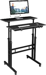 DlandHome Carro de Escritorio Sentado & de Pie Mesa de Escritorio móvil de Altura Ajustable para Sentarse Mesa Vertical de...