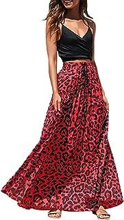 Honestyivan Falda Larga Plisada con Estampado de Leopardo, Cintura Alta, elástica, Falda de Verano