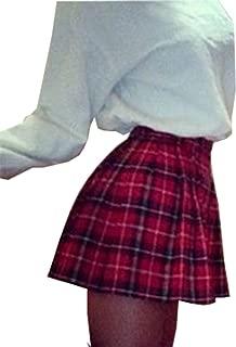 Women High Waist Skater Flared Red Check Plaid Pleated Short Mini Skirt