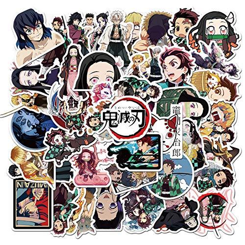HENJIA 50 Uds.Pegatina de Personaje de Anime japonés niño Divertido Juguete de Dibujos Animados Linda Chica Regalo Bolsa con Ruedas para Ordenador portátil