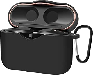 AMOVO Sony WF-1000XM3 ケース シリコン 高級 WF-1000XM3 ケースカバー 保護ケース イヤホン 収納ケース キズ防止 耐衝撃 カラビナ付き 装着したまま充電 撥水 WF-1000XM3 Case Silicone Protective Cover (WF-1000XM3, 黒い)