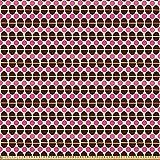 ABAKUHAUS Geométrico Tela por Metro, Círculo Forma De Cáscara De Huevo, Microfibra Decorativa para Artes y Manualidades, 10M (148x1000cm), Brown De La Castaña De Las Rosas Fuertes Y Negro