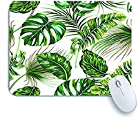 Mabby マウスマット ゲーミング オフィス マウス パッド,Tropical palm leaves, monstera, jungle leaf floral summer pattern,Non-Slip Rubber Base Mousepad for Laptop Computer PC Office,Cute Design Desk Accessories