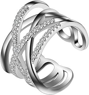 5a0bc0c54648 Hosaire Anillo de Plata de Con Estilo y Elegante Mujeres de Apertura  Metal-Ajustable (