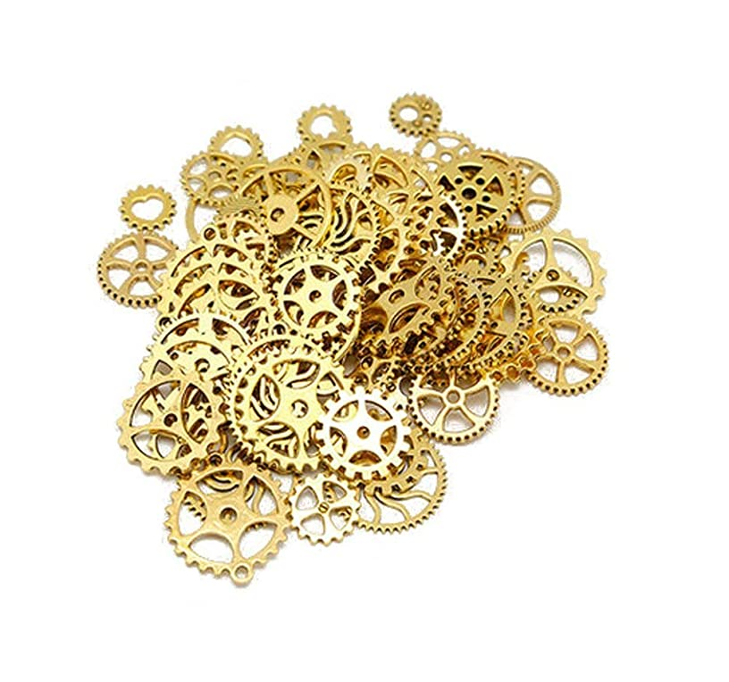 100 Gram Assorted Vintage Metal Antique Steampunk Gears Charms Pendant Cog Clock Watch Wheel Gears DIY Accessories Supplies for Crafting Jewelry Making Bracelets Necklace Golden