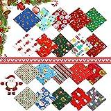 Tela de Algodón de Navidad,20 piezas Navidad Tela Algodon Telas Patchwork,tela navidad Navidad Tela De Algodón,patchwork precortados para manualidades de costura de Navidad