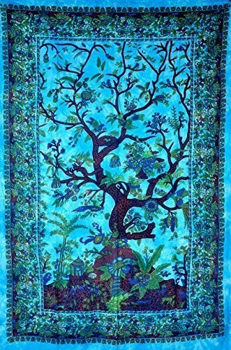 RSG Venture Turquoise Blue Tree of Life Tapestries Hippie Tapestries Bohemian Boho Tapestry product image