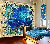 Hailongdia Sombreado 3D Impresión Foto Mundo Submarino Sombreado Sala De Estar Dormitorio Dormitorio Hotel Café Oficina Sofá Cortinas Cortinas De Lujo 290 (H) X140 (W) Cm X2