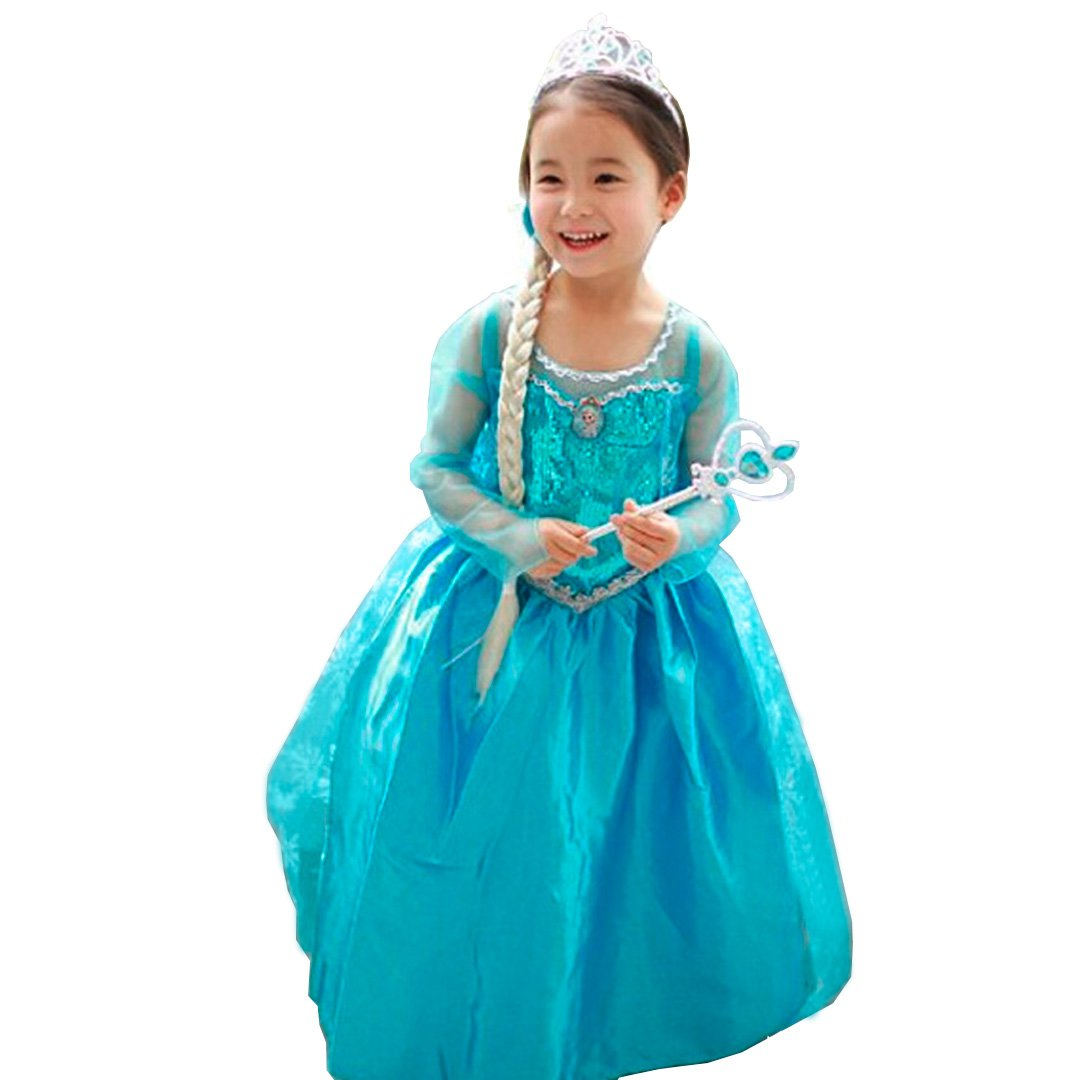 CIRAD Vestido Niñas Disfraz Anna Elsa (110 (3-4 años)): Amazon.es ...